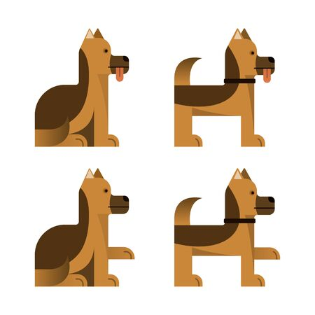 Set of flat icons with sheepdog. Pedigree dog. Sitting and standing. Vector illustration.  イラスト・ベクター素材
