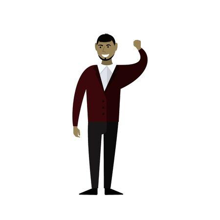 Businessman smiles. An Arab man with a beard. Vector illustration. Flat design.  イラスト・ベクター素材
