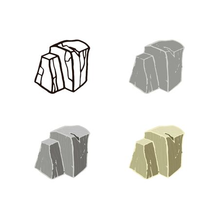 Stone set ruins shape. Outline sketch, flat style and realistic. Vector illustration.