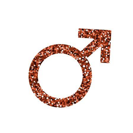 Men symbol. Vector illustration. Red sequin Venus