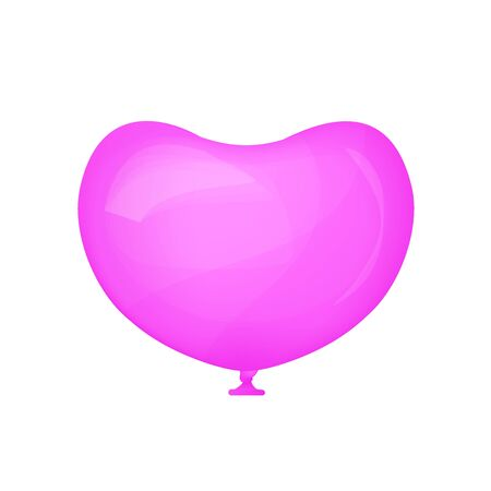 Realistic pink balloon. Shape of a heart. Valentines day. Vector illustration. I love you.  イラスト・ベクター素材