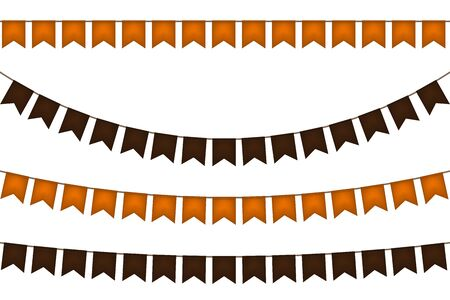 Halloween flag garland. Black and yellow. Vector illustration.