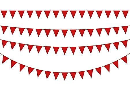 New year triangle flag garland. Red decoration. Vector illustration.  イラスト・ベクター素材