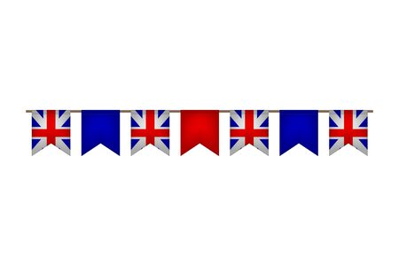 Great Britain flag garlands. United Kingdom carnaval and festival. Vector illustration. Stock Illustratie