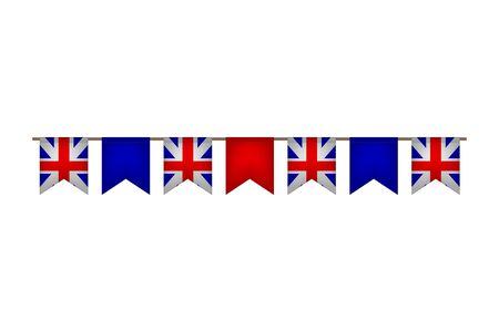 Great Britain flag garlands. United Kingdom carnaval and festival. Vector illustration.  イラスト・ベクター素材