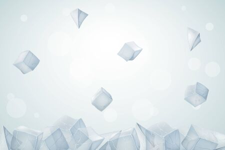 Ice cubes fall down. 3D transparent bricks. Vector illustration.