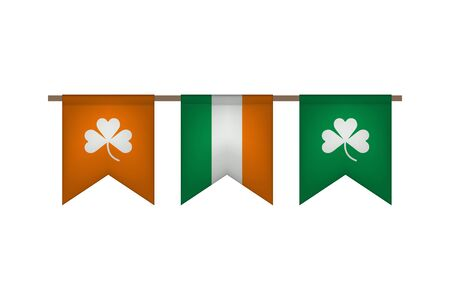 Ireland flag garland with clover. Carnaval and festival decoration. Vector illustration.