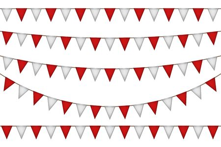 Triangle flag garland. Red and white decoration. Vector illustration.