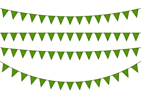 Ireland triangle green flag garland. Carnaval and festival decoration. Vector illustration.