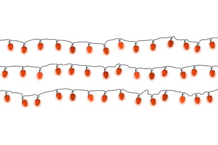 Lights bulbs on white background. Glowing red Christmas garlands string. Vector illustrayion. New Year.