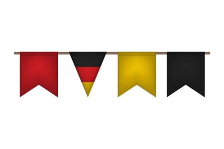 Germany garland with flags. Carnaval and festival event. Vector illustration. Black, red, yellow  イラスト・ベクター素材