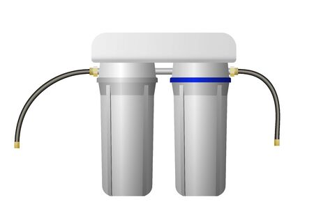 Filter for water purification. Two blocks. Vector illustration. Treatment equipment.