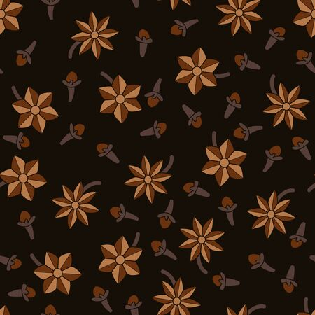 Cloves and vanilla. Fragrant spices. Vector illustration. Seamless pattern background