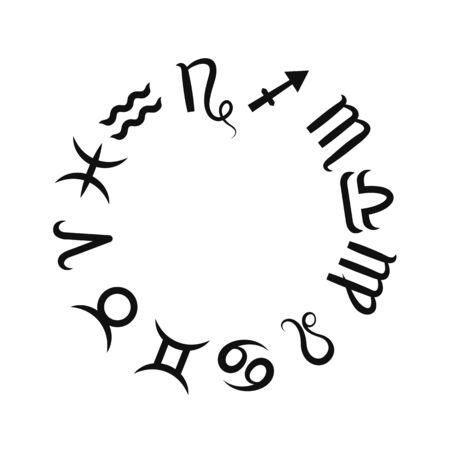 Zodiac black sign set. Astrological horoscope. Vector illustration