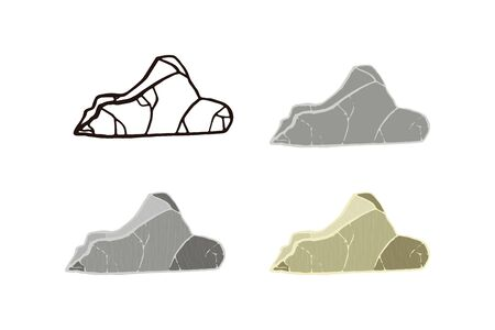 Stone set curved shape. Outline sketch, flat style and realistic. Vector illustration.