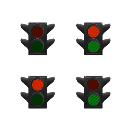 Set of traffic lights. Red and green. Vector illustration. Stock Illustratie