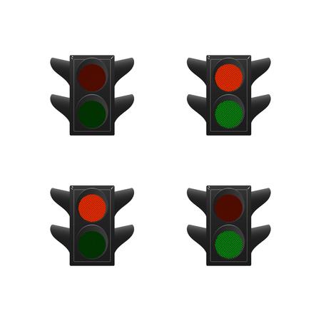 Set of traffic lights. Red and green. Vector illustration.  イラスト・ベクター素材