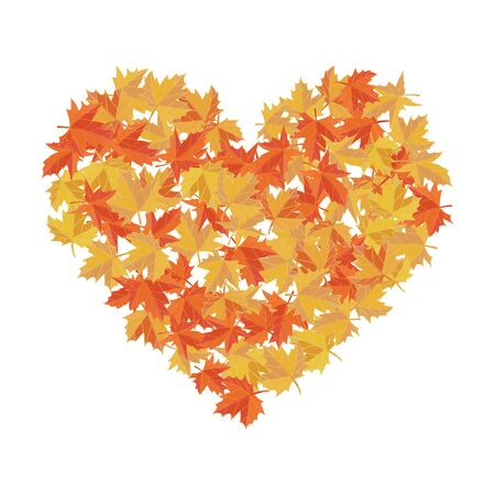 Maple leaves in the shape of heart. Vector illustration. I love autumn. Greeting card. Orange and yellow colors.