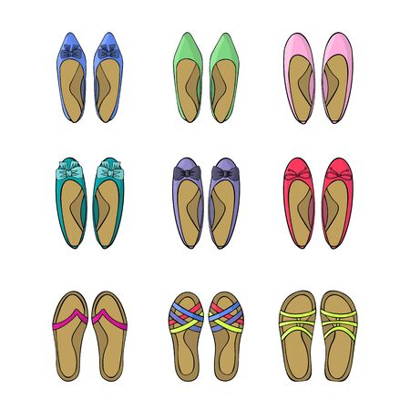 Woman spring shoes. Icons set. Vector illustration