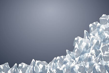 Transparent ice and snow crystal heap. Vector illustration. Iced bricks. Dark blue background. Stock Illustratie
