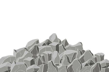 Gray stone mountain. Vector illustration. Rock texture.  イラスト・ベクター素材