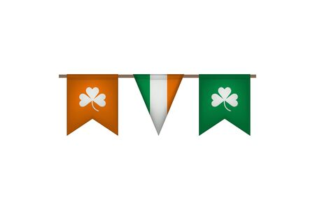 Ireland garland with flags. Carnaval and festival decoration. Vector illustration. Clover. Stock Illustratie