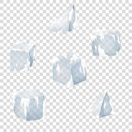 Transparency ice and snow blocks. Vector illustration. 3D design.