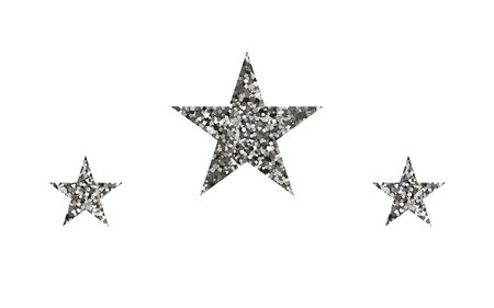 Silver stars shape on white background. Vector illustration. Bright decoration.