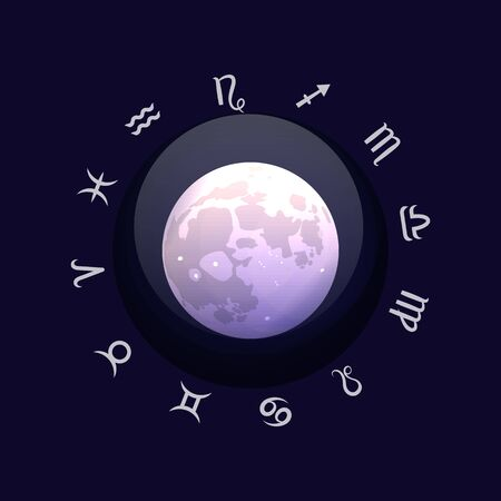 Zodiac sign and moon. Astrological horoscope. Vector illustration banner. Outer space.  イラスト・ベクター素材