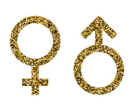 Male female sign. Vector illustration. Golden tinsel. Mars Venus  イラスト・ベクター素材