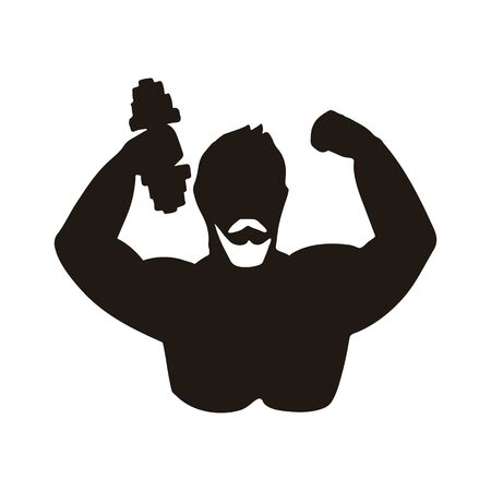 Icon of athlete. Vector illustration. Black and white stylized silhouette.  イラスト・ベクター素材