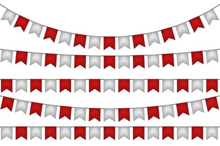 Flag garland. Red and white decoration. Vector illustration.