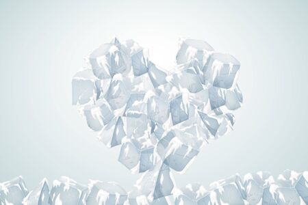 Big icy heart with snow. The texture of the ice. Vector illustration. Valentines Day Card.