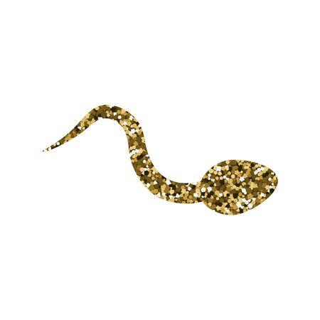 Silueta de esperma abstracto. Ilustración de vector. Textura dorada. Lentejuela brillante