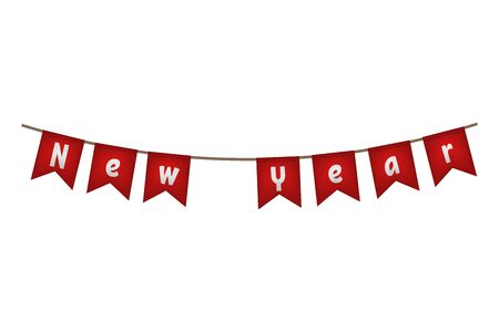 New year flag garland. Red fun decor. Vector illustration.