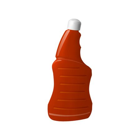 Red plastic bottle with white cap. The chemical in the container. Vector illustration.