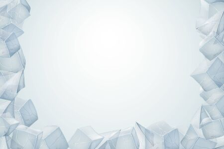 Ice heap. Translucent icy frame. Vector illustration. Winter desin.