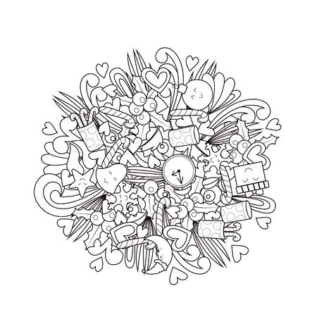 New year and christmas. Doodle coloring book. Vector illustration.