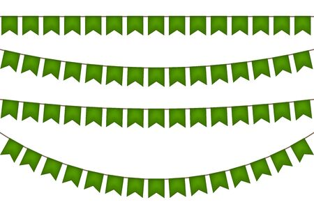 Ireland garland with green flags. Carnaval and festival decoration. Vector illustration.  イラスト・ベクター素材