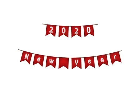 New year 2020. Flag garland. Red decoration Vector illustration