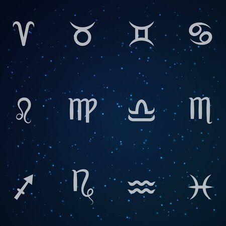 Zodiac sign set. Astrological horoscope. Vector illustration. Cosmos background