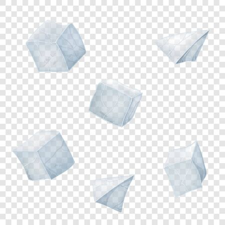 Transparency ice cubes and pyramids. Vector illustration. 3D design.