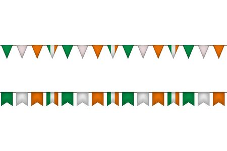 Ireland garland with flags. Irish carnaval and festival decoration. Vector illustration. Stock Illustratie