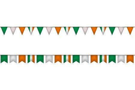 Ireland garland with flags. Irish carnaval and festival decoration. Vector illustration.  イラスト・ベクター素材