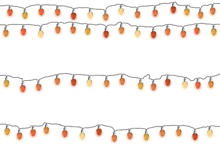 Glowing red Christmas garlands. Lights bulbs on white background. Vector illustrayion. New Year decorations.