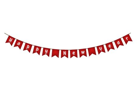 Happy New year flag garland. Red party decor. Vector illustration.