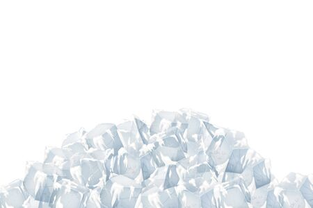 Transparent ice and snow pile. Vector illustration. White background.