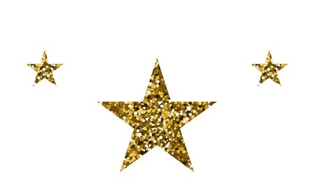 Gold shiny stars. Vector illustration. The texture of sequin