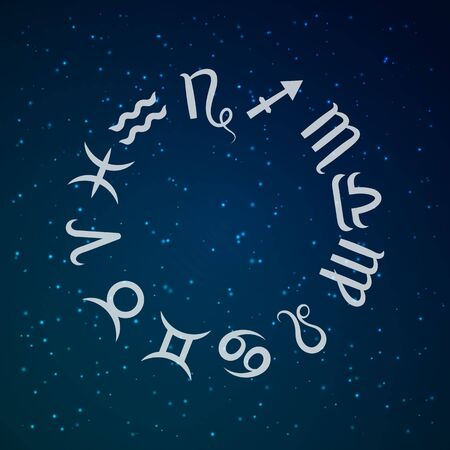 Zodiac sign. Astrological horoscope. Vector illustration. Outer space background  イラスト・ベクター素材