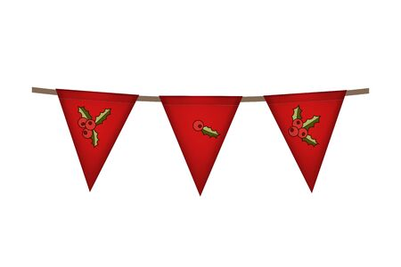 Christmas and new year. Triangle flag garland. Red holly decoration. Vector illustration.